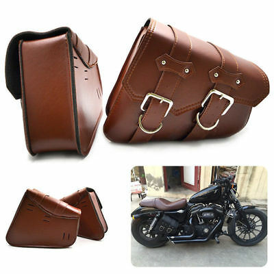2x Universal Motorcycle Leather Side Saddle Bag Storage Pouch For Harley