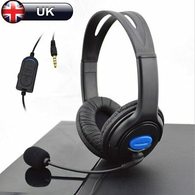 Deluxe Black Headset Headphone With Mic Volume Control For  Ps4 Laptop Uk