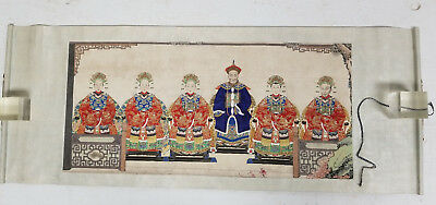 Antique Chinese Finely Painted Pencil ANcestor Portrait Hand Scroll