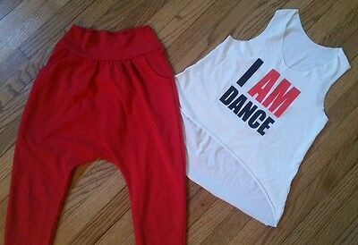 HIP HOP I AM DANCE Costume URBAN GROOVE  OUTFIT RED Pants Shirt CHILD M  L 10