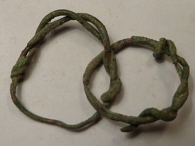 1760	600-500 BC PAIR of Ancient Celtic bronze earrings connected together.