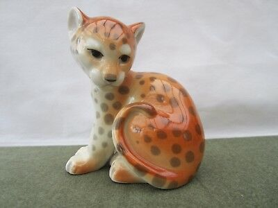 LOMONOSOV Russian Sitting CAT - leopard   Porcelain Figurine