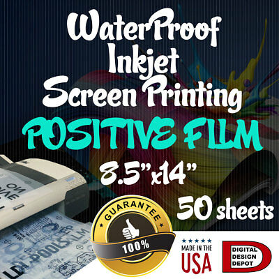 "WATERPROOF Inkjet Transparency Film for Screen Printing 8.5""x14"" 50 sheets"