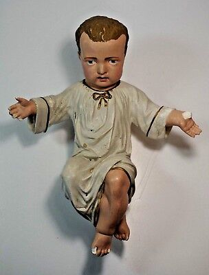 Antique French Nativity Baby Jesus Christ Chalkware Plaster Statue 12 1/2""