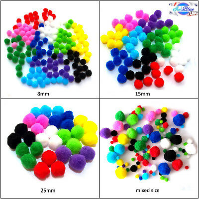 Pom Poms in Assorted Colour Packs - 10 colours in equal quantity guaranteed!!!