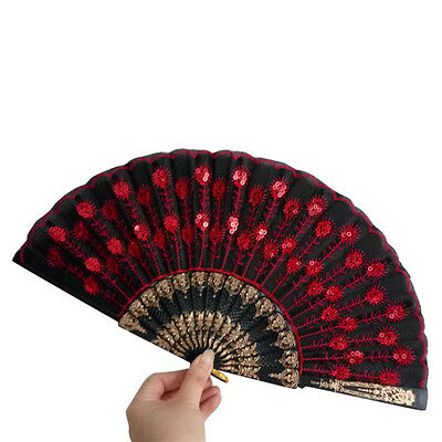 Spanish Lace Silk Folding Hand Held Dance Fan Flower Pattern for Party Wedding