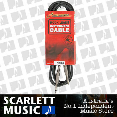 AUSTRALASIAN 10 Foot Guitar Lead / Instrument Cable Black - w/12 Months Warranty