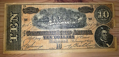 1864 Confederate States of America $10 Ten Dollar Bill Civil War Reproduction