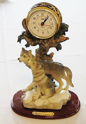 Ruby's Collection Wolf/Wolves Figurines with Clock - Classic Display Piece