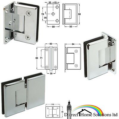 Hafele Brass Shower Door Hinge Wall / Glass To Glass 90°/180° Polished Chrome Pl