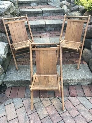 Lot of 3 CHILD'S Vintage Tucker PEERLESS TUCK ER' WAY Wooden Folding Chairs USA