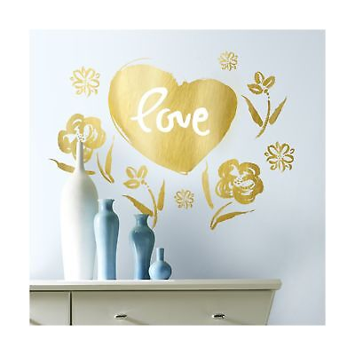 RoomMates RMK3315GM Kathy Davis Love Heart Gold Foil Peel and Stick Giant Wal...