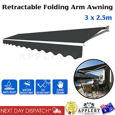 3x2.5m Folding Arm Awning Outdoor Hand Crank Retractable Durable Aluminium Frame