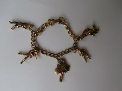ANTIQUE VINTAGE CHARM BRACELET-FIVE LOVELY CHARMS DATED FROM THE 1930s-SUPERB !!
