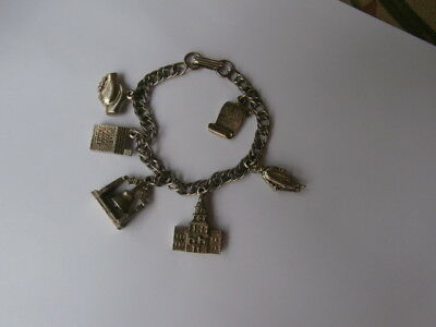 ANTIQUE VINTAGE CHARM BRACELET-SIX GORGEOUS SILVER CHARMS DATED FROM THE 30's