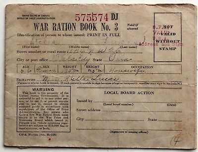 1941 War Ration Book No. 3 With Stamps