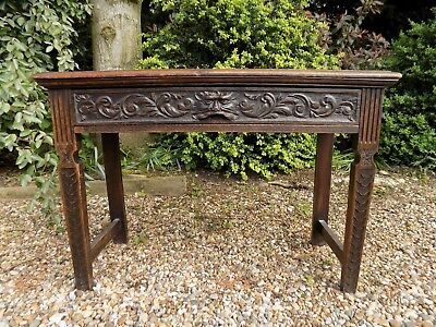 Beautiful Antique Old Oak Green Man Hall Side Table  *We Deliver*