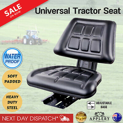 New Universal Tractor Forklift Excavator Seat Backrest Spring Chair Bobcat Black