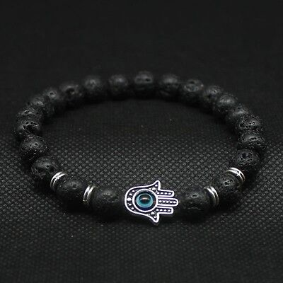 Men Lava Stone Hamsa Hand Evil Eye Beads Charm Beaded Energy Bracelet Bangle