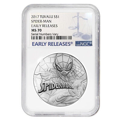 2017 1 oz Tuvalu Spiderman Marvel Series Silver Coin NGC MS 70 Early Releases