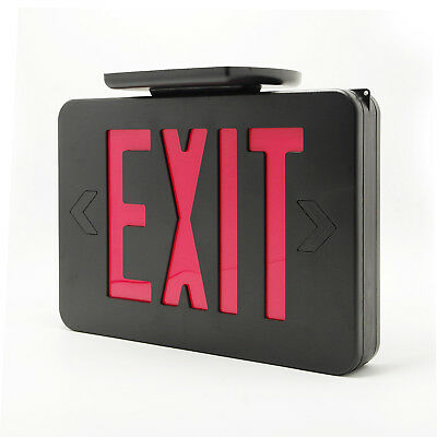 LED Black&Red Emergency Exit Sign Slim & Low Profile with Battery Backup