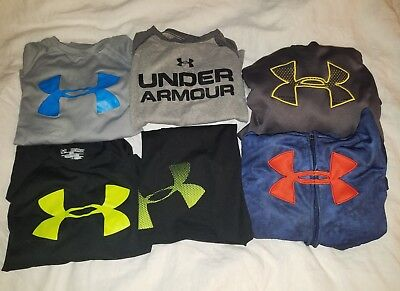 Boys Under Armour Big Logo Lot Sz S XS 6/7 Storm Hoodies Shirts Shorts
