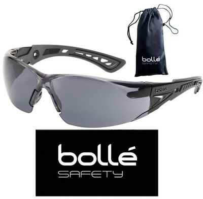 Bolle 40208 Rush+ Safety Glasses with Black/Gray Temples and Smoke Lens