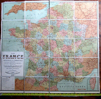 "CARTE TOILEE ""PARENT"" 1887  La FRANCE INDUSTRIELLE & COMMERCIALE  65 x 61 cm"