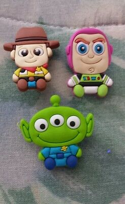 Lot of 3 Toy Story charms for Crocs clog shoes or wristband bracelet. New.