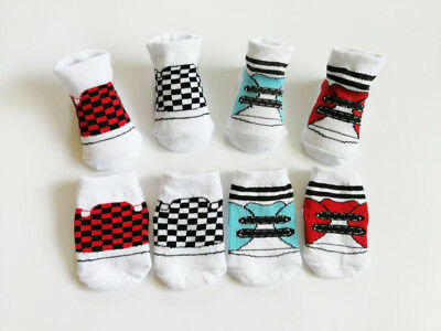 4 Pairs 0-6 Months Boy Infant Baby Shoes shaped Ankle Socks Checkerboard Pattern