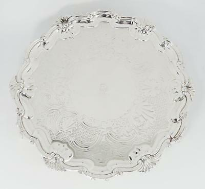 Pretty GEORGE IV OLD SHEFFIELD PLATE FOOTED WAITER TRAY c1820 Recently Replated