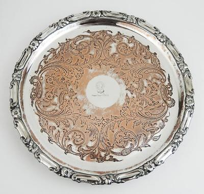 Beautiful REGENCY PERIOD OLD SHEFFIELD PLATE WAITER TRAY c1820 Family Crest