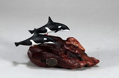 ORCA KILLER WHALE Pair Sculpture New Direct from JOHN PERRY 5in long Figurine