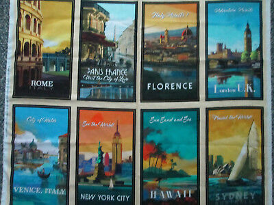 Famous Cities Rome Paris Nyc More 8 Block Digital Wall Art Cotton Fabric Panel