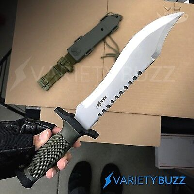 "12"" TACTICAL SURVIVAL Rambo Hunting FIXED BLADE KNIFE Army Bowie SILVER + SHEATH"