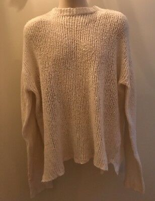 MATSUDA, Vintage Men's Ivory Cotton Sweater, 52, Large, Very Loosely Woven