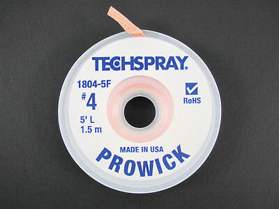 """""""Prowick"""" Solder Wick - #4 - 5' Braid - Techspray 1804-5F - MADE IN THE USA!"""
