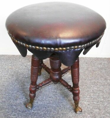 Vintage Adjustable Claw Foot Glass Ball Piano Stool w/ Padded Seat