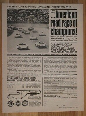 SCCA American Road Race of Champions print ad, 1964. First race of div. winners.