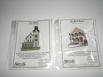 (2) Shelia's Historic Lapel Pins - The Pink House & The Abbey, Cape May, NJ. NIP