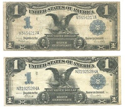 1899 $1 Silver Certificates.  Lot of 2 Notes.  No Reserve, Starting at 1 cent