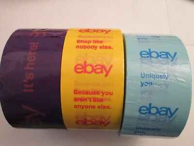 "Lot of 3 rolls eBay branded packing/shipping tape 2""x 75 yards Box sealing NEW"