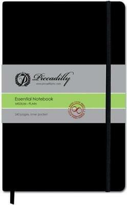 """Piccadilly Essential Notebook Medium - Plain 240 PGS. New! 8 1/4"""" x 5"""" Hardcover"""