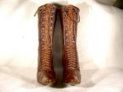 """Antique Edwardian Period Brown Leather """"Farm Style"""" Lace Up Boots EU39"""