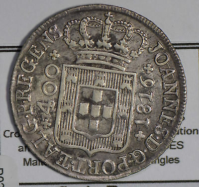 Portugal 1816 400 Reis silver rare in this grade P0201 combine shipping