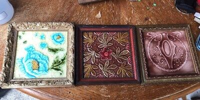 Vintage Carved Ceramic Tile Art Craven Dunnill And 2 Others