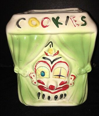 Vtg American Bisque Moving Flicker Eyes Pan-Eye-Matic Clown Cookie Jar Bottom