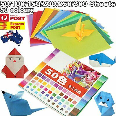 Mixed Colours Origami Square Paper Craft Folding 20x20cm Single Sided Sheets DIY