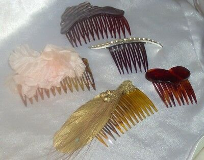 Vintage Plastic Hair Combs Lot Rhinestones Heart Accents  Pretty