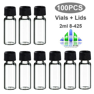 100 PCS Sample Vials + Caps 2ml 8-425 Glass bottle clear vial Screw Top HPLC GC